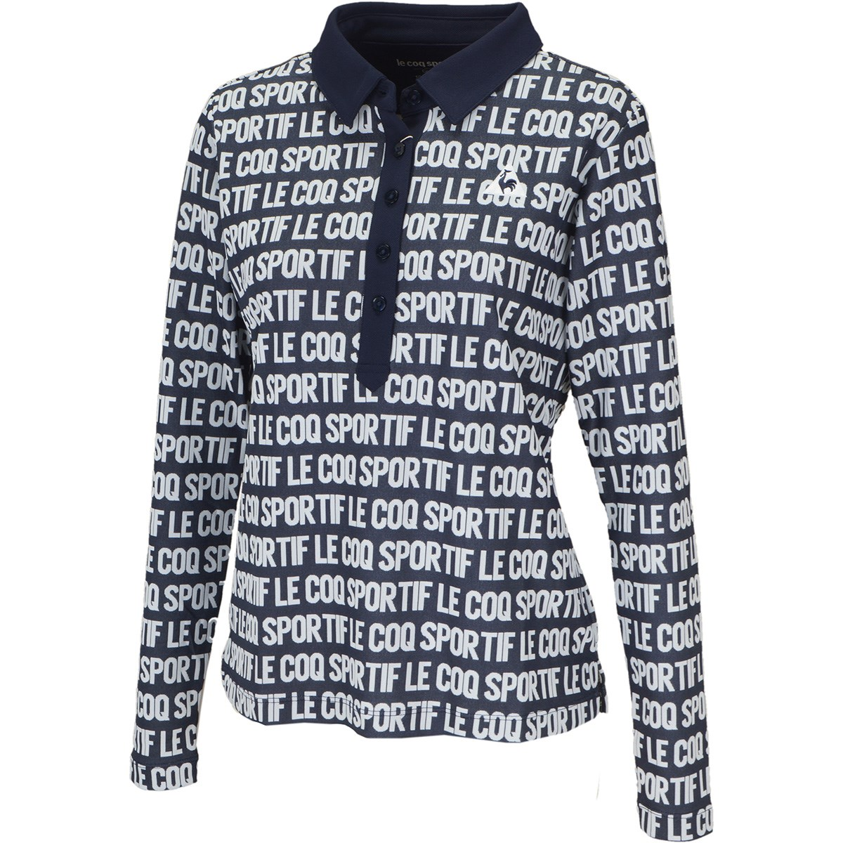 ルコックゴルフ Le coq sportif GOLF ロゴジャカード長袖ポロシャツ S ネイビー 00 レディス