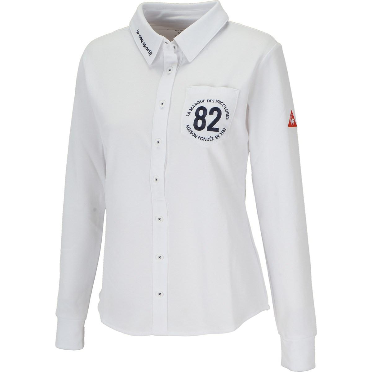ルコックゴルフ Le coq sportif GOLF ストレッチ 鹿の子長袖シャツ S ホワイト 00 レディス