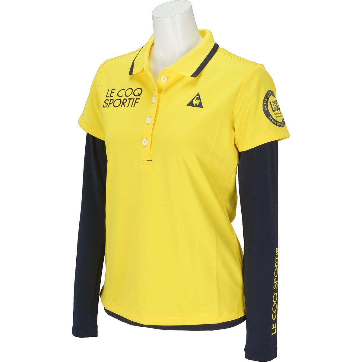 ルコックゴルフ Le coq sportif GOLF ストレッチ 長袖インナーシャツレイヤードセット 半袖ポロシャツ M イエロー 00 レディス