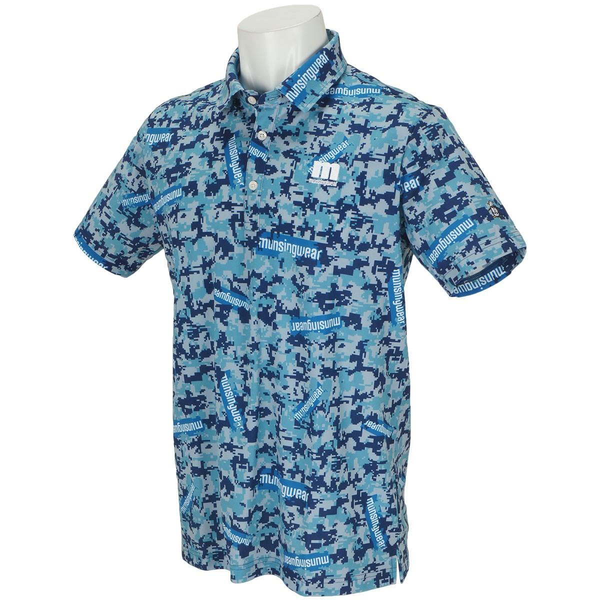 マンシングウェア ENVOY ストレッチ ステッカーロゴ&カモフラプリント半袖ポロシャツ