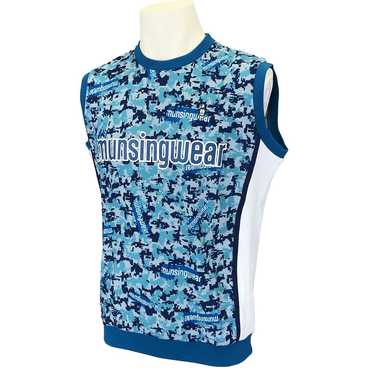マンシングウェア Munsingwear ENVOY ストレッチ ステッカーロゴ&カモフラバスケジャージベスト M ブルー 00
