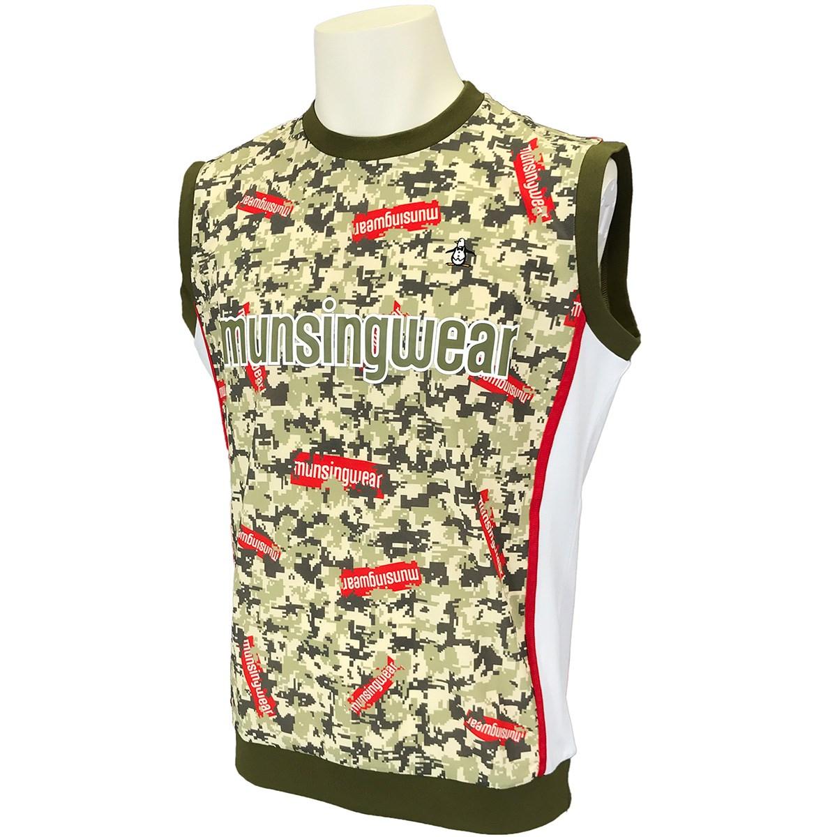 マンシングウェア Munsingwear ENVOY ストレッチ ステッカーロゴ&カモフラバスケジャージベスト M カーキ 00