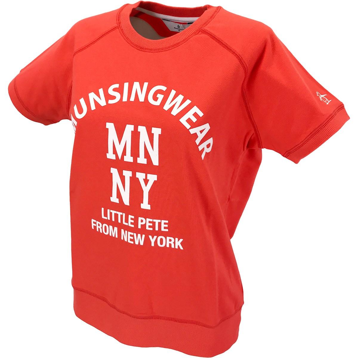 マンシングウェア Munsingwear ストレッチ カレッジロゴプリントミニ裏毛半袖シャツ M オレンジ 00 レディス