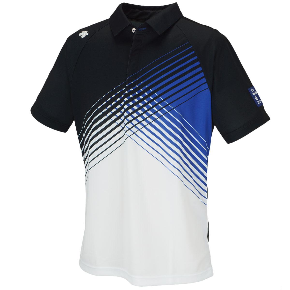 BLUELABEL テクニスタクロスグラデーションプリント ストレッチ鹿の子半袖ポロシャツ