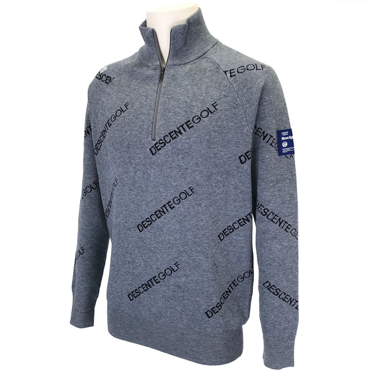BLUELABEL ウール混ロゴジャカードセーター