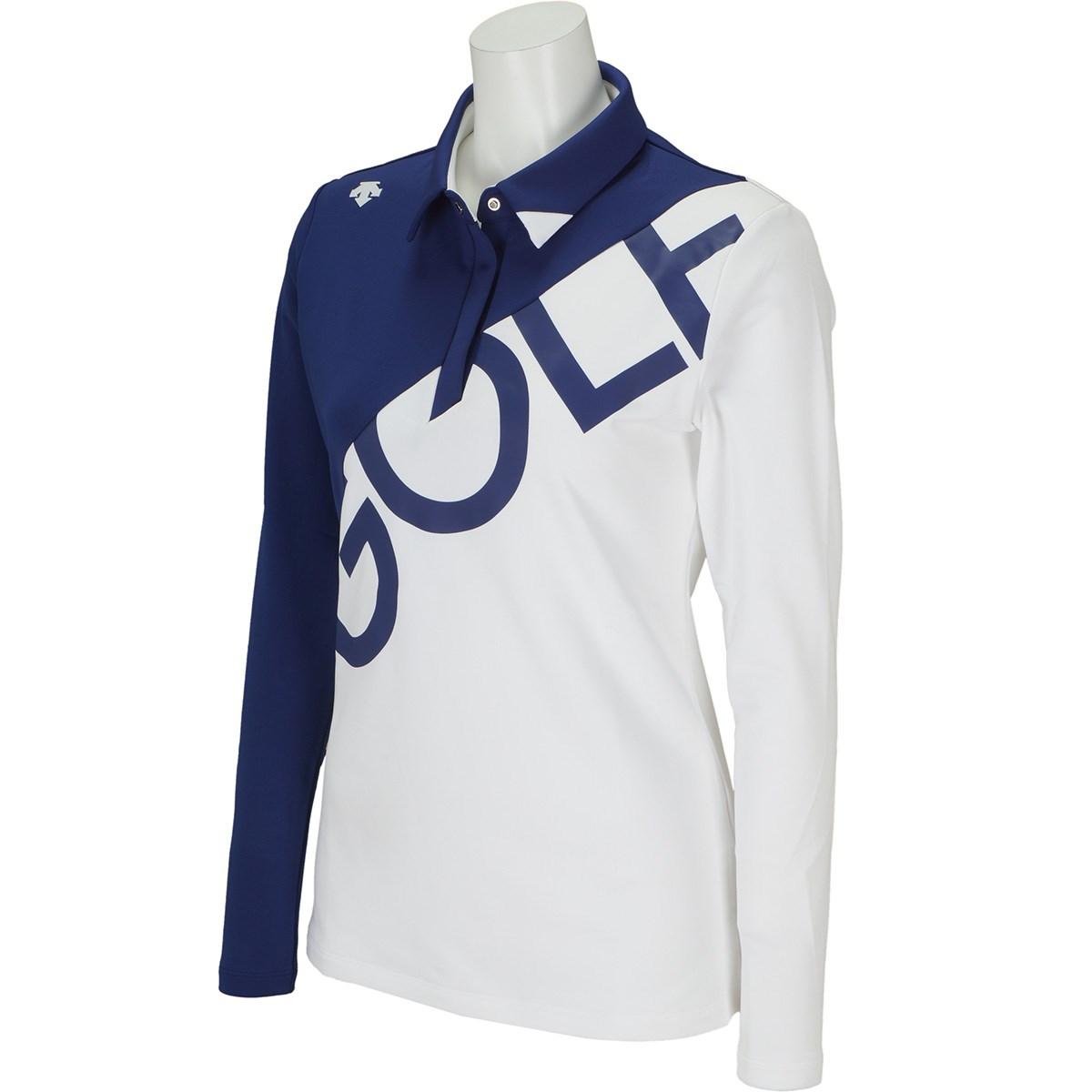 デサントゴルフ DESCENTE GOLF カチオンハイマルチ ロゴプリント ストレッチ長袖ポロシャツ S ホワイト 00 レディス