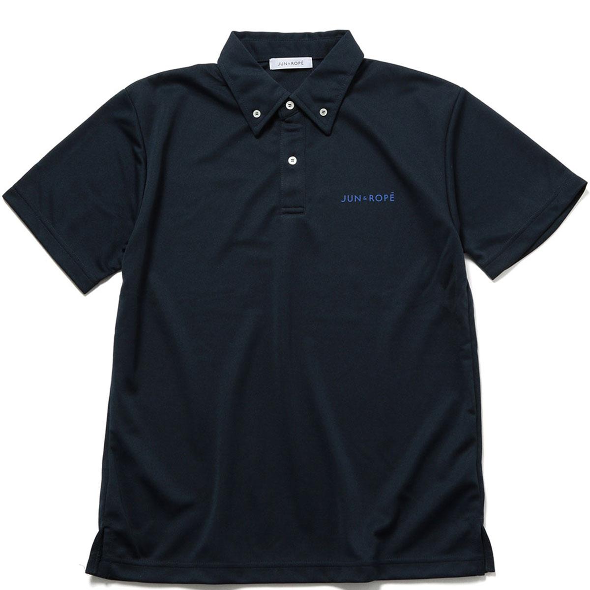 バックプリントボタンダウン半袖ポロシャツ