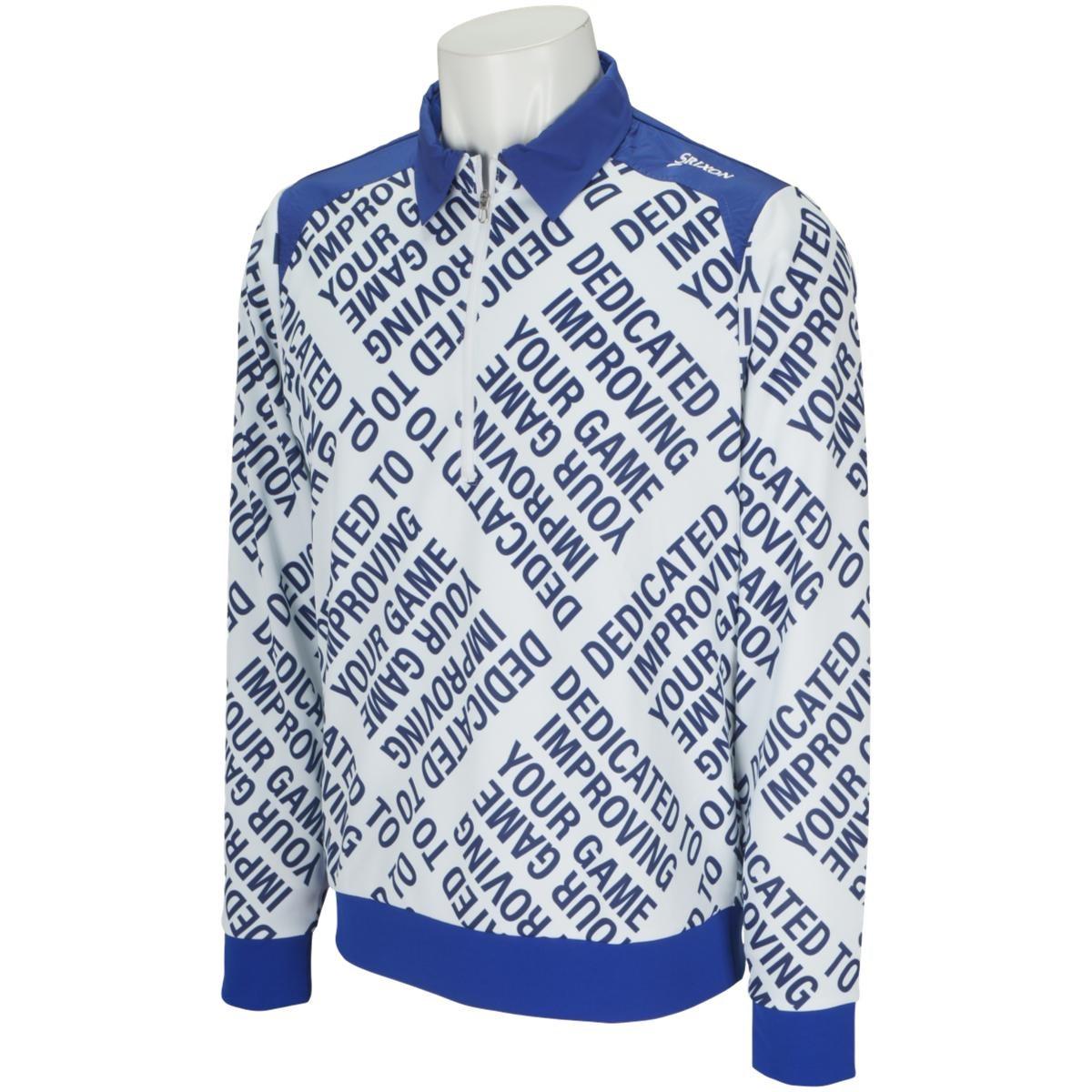 スリクソンゴルフ SRIXON ストレッチ 総柄タイポハイブリッドプロスタイル ジップアップ長袖シャツ M ブルー 00