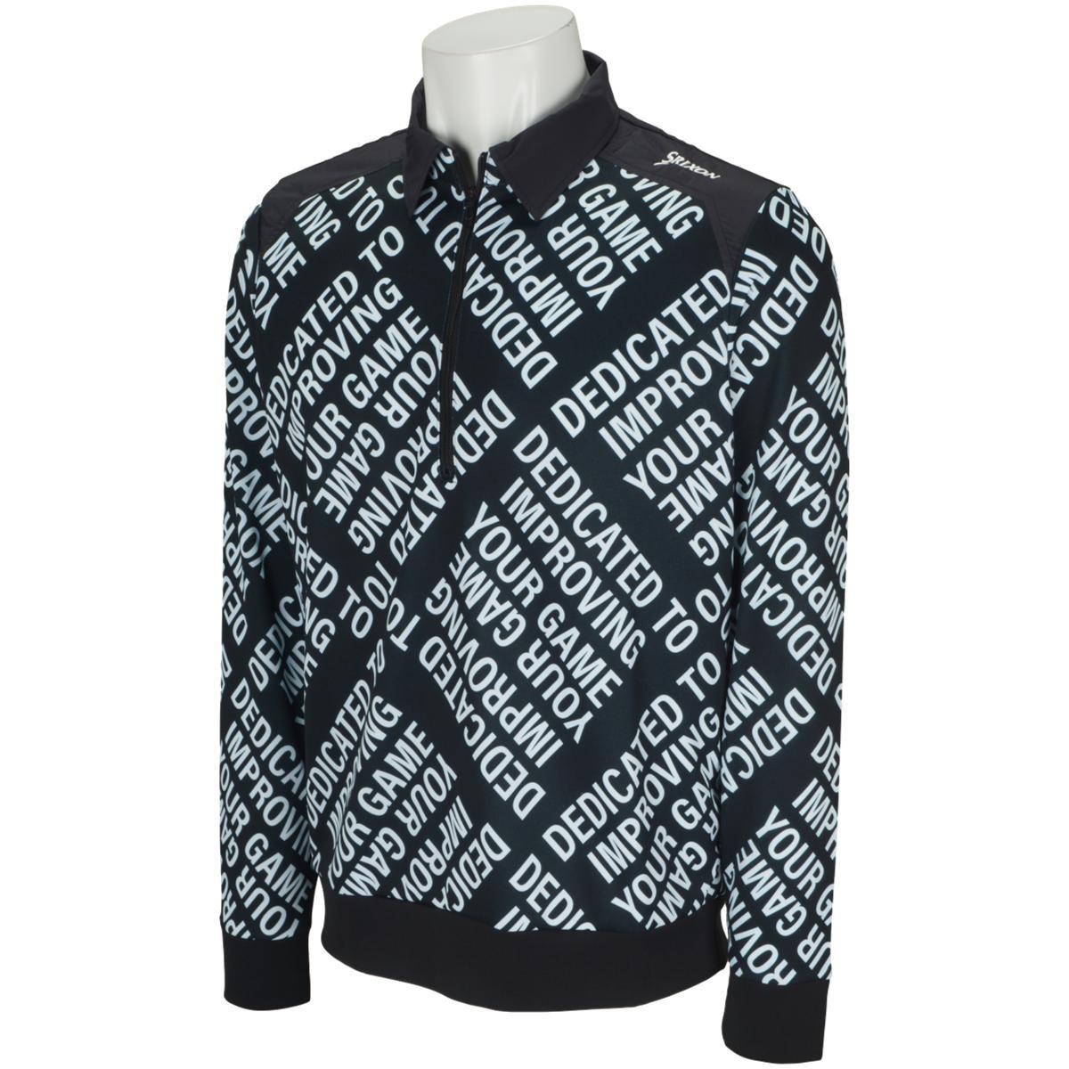 スリクソンゴルフ SRIXON ストレッチ 総柄タイポハイブリッドプロスタイル ジップアップ長袖シャツ M ブラック 00