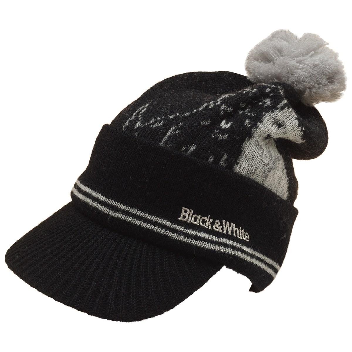 ブラック&ホワイト Black & White ニットキャップ フリー ブラック レディス