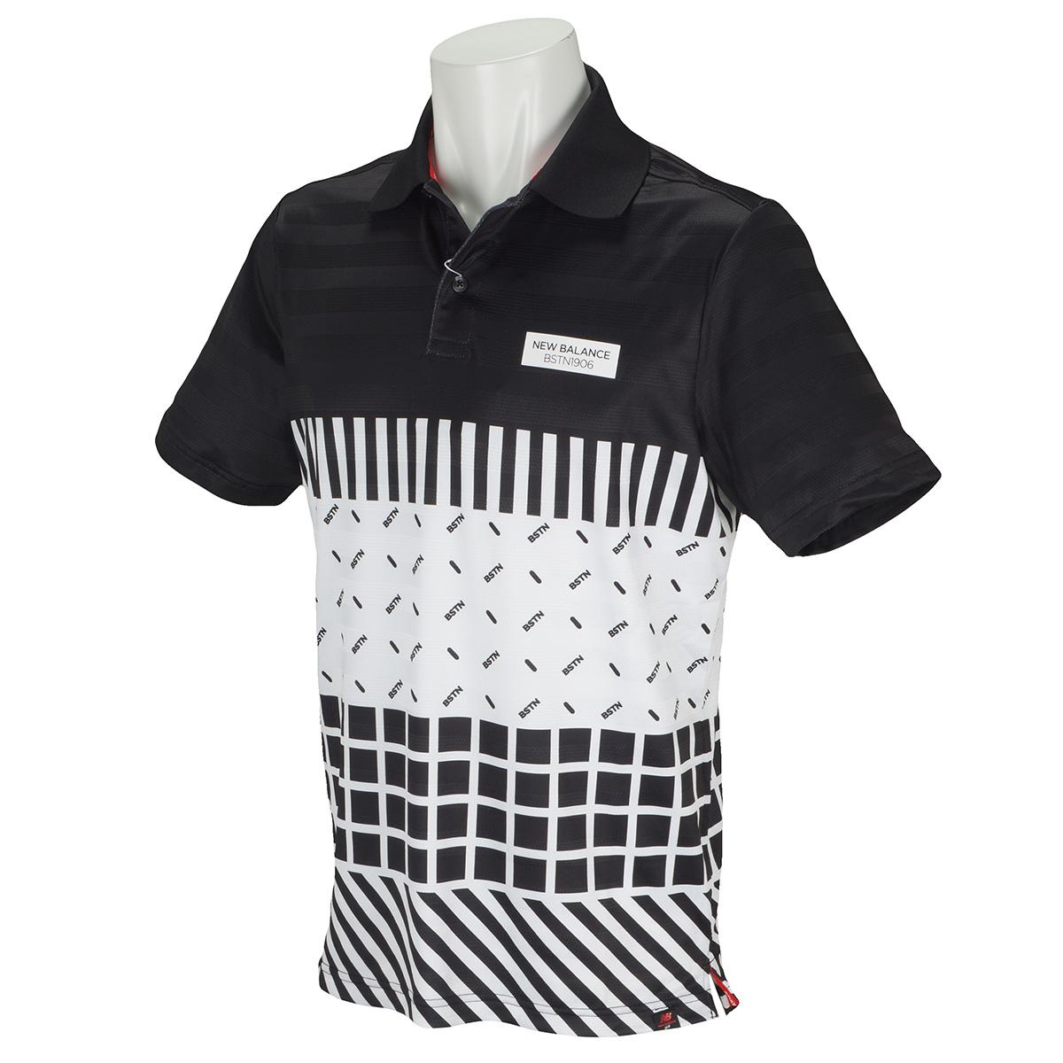 パネルオプティカル半袖ポロシャツ