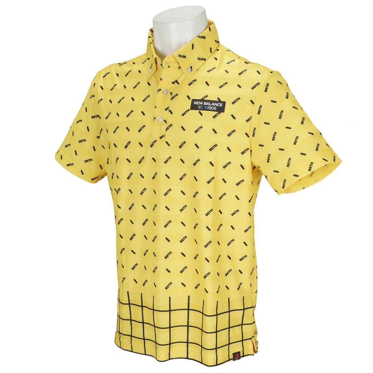 チェック×オプティカル半袖ポロシャツ