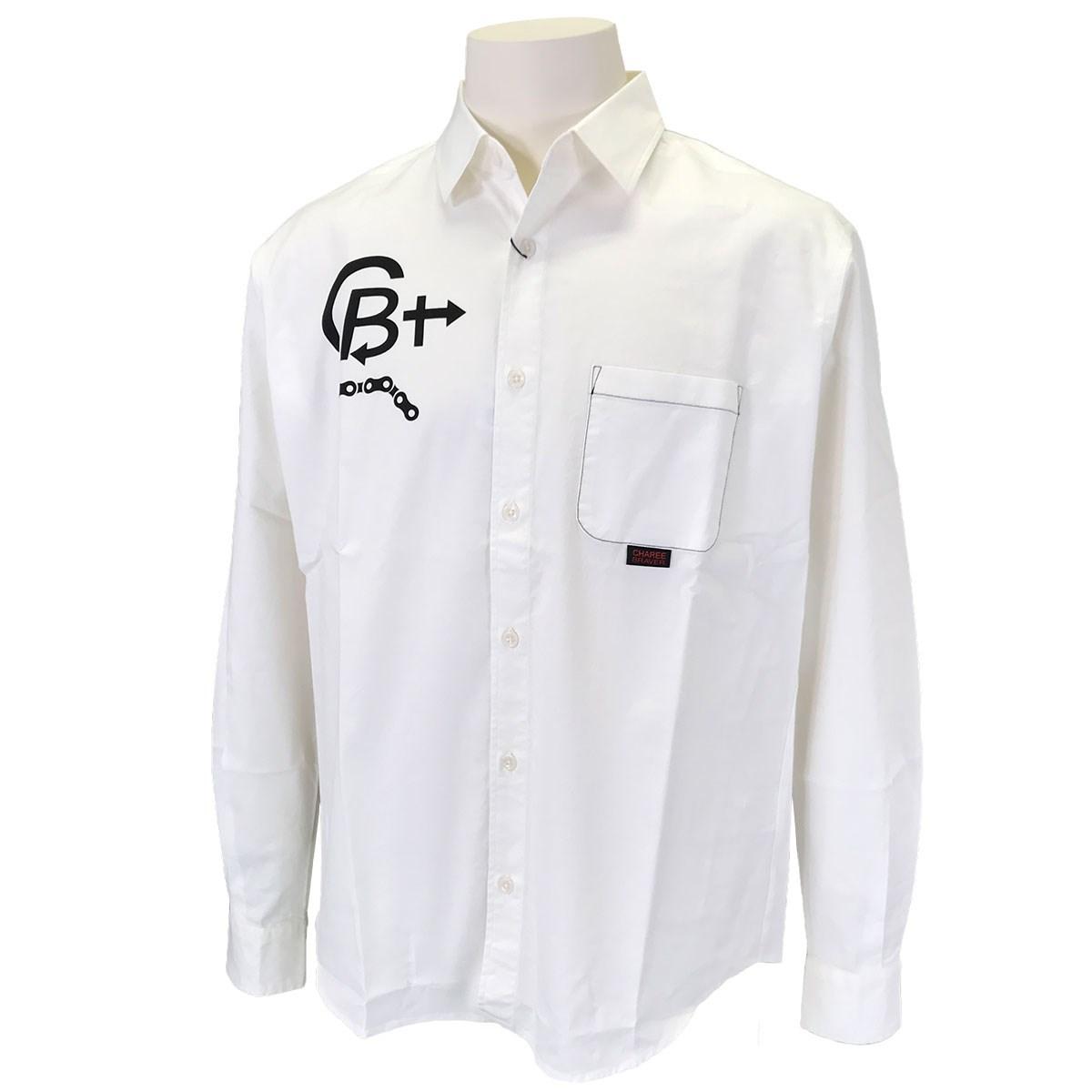 チャーリーブレイバー Charee Braver ストレッチロゴプリントレギュラーカラー 長袖シャツ L(3) ホワイト