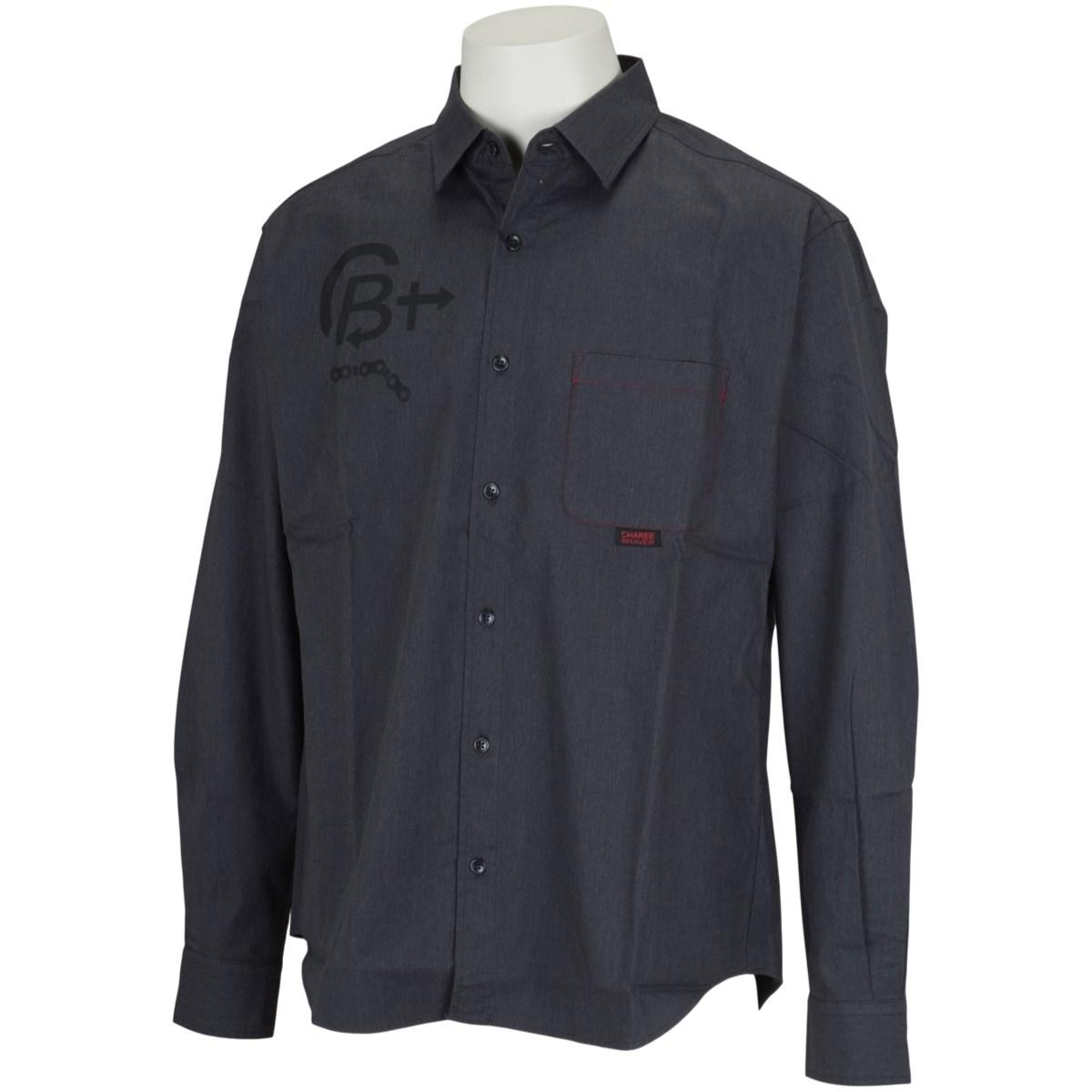 チャーリーブレイバー Charee Braver ストレッチロゴプリントレギュラーカラー 長袖シャツ L(3) チャコールグレー