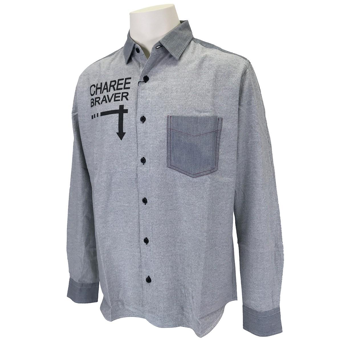 チャーリーブレイバー Charee Braver ロゴプリントレギュラーカラー長袖シャツ L ホワイト