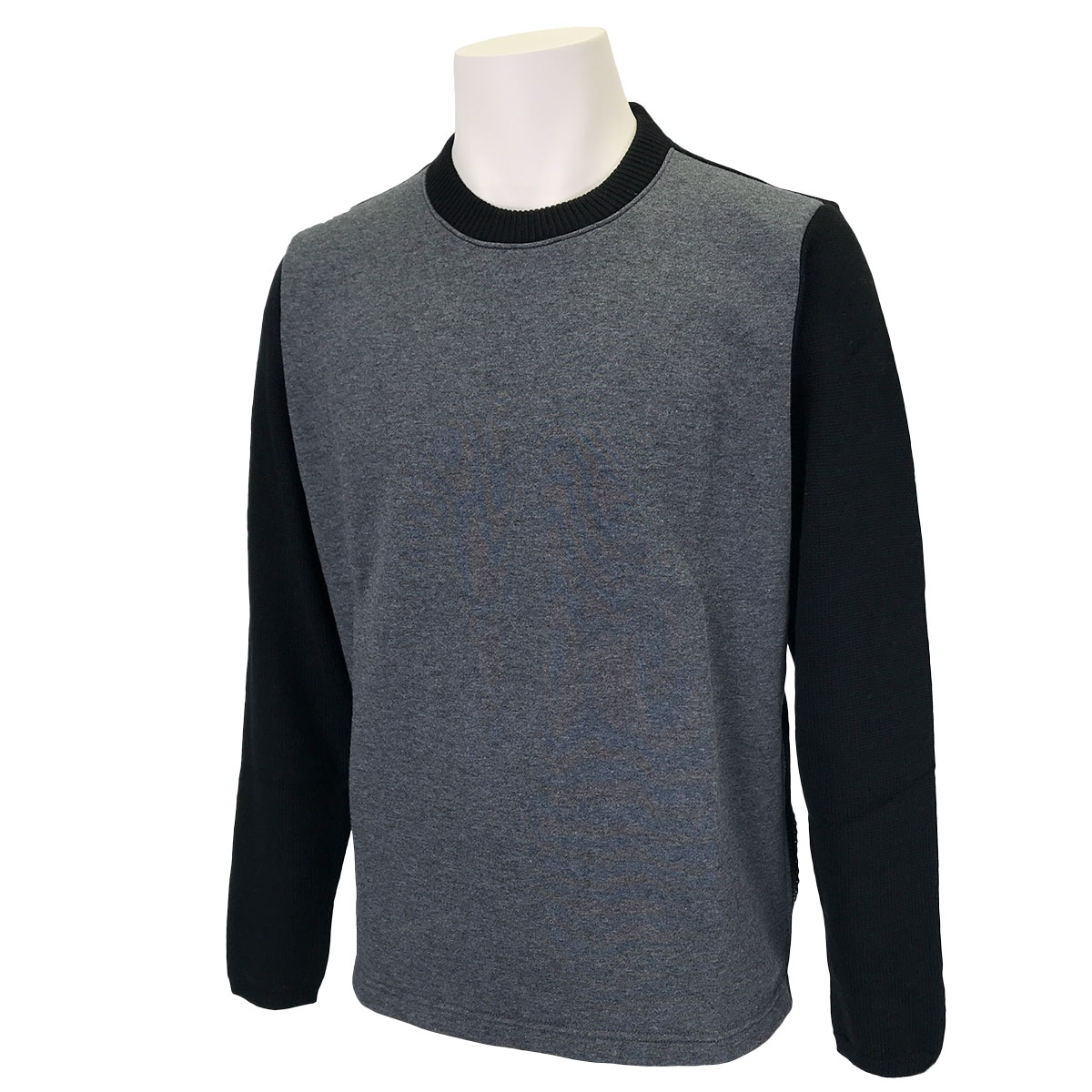 ニット切り替えジップ脇開き丸首セーター