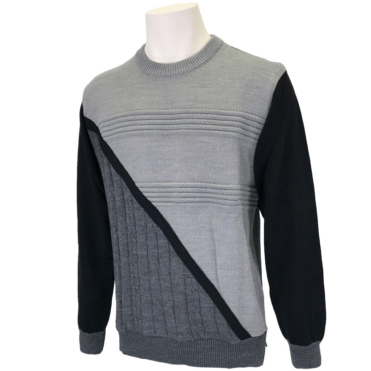 前身切り替え丸首セーター