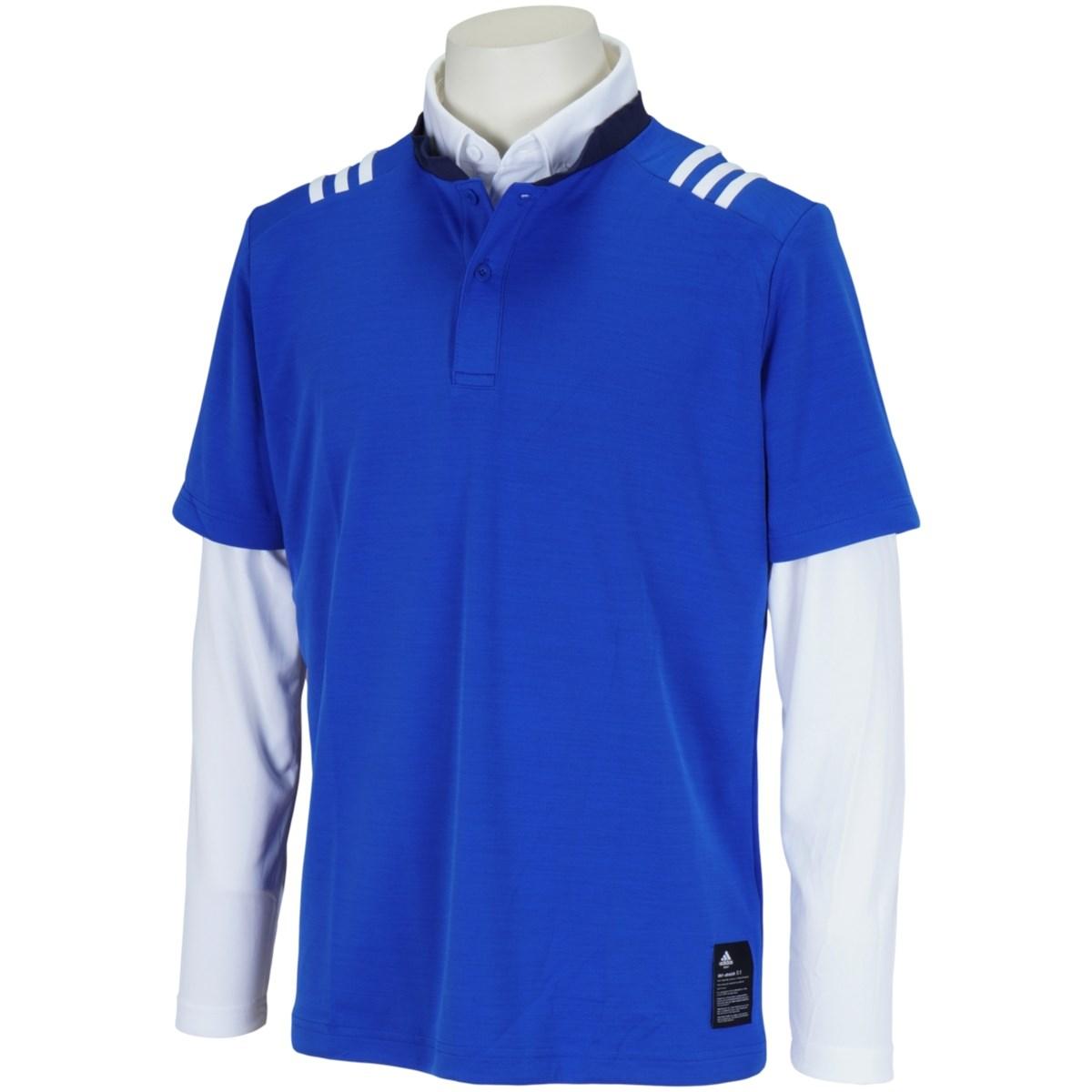 アディダス Adidas スリーストライプス レイヤードストレッチ半袖スタンドカラーシャツ J/S チームロイヤルブルー/ホワイト