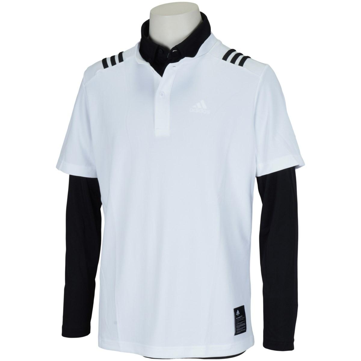 アディダス Adidas スリーストライプス レイヤードストレッチ半袖スタンドカラーシャツ J/L ホワイト/ブラック