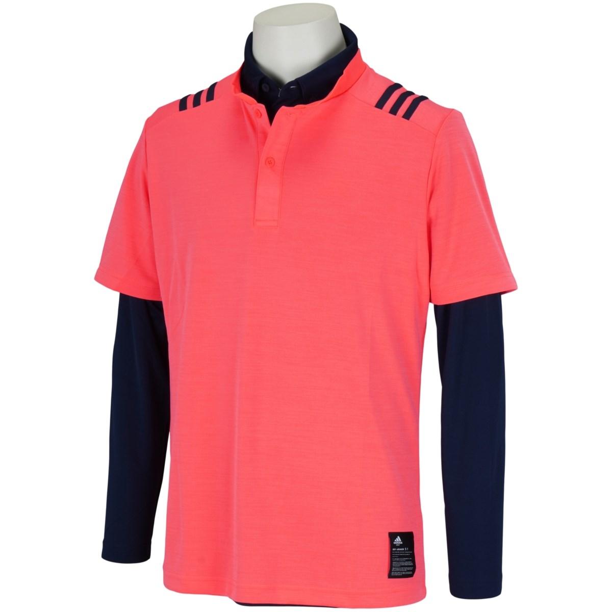 アディダス Adidas スリーストライプス レイヤードストレッチ半袖スタンドカラーシャツ J/S シグナルピンク/カレッジネイビー