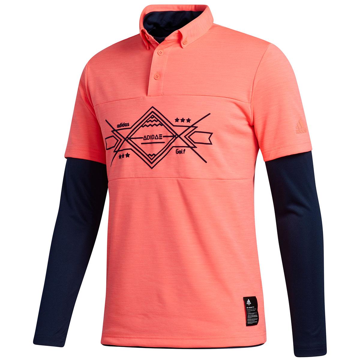 グラフィック レイヤードストレッチ半袖ボタンダウンポロシャツ