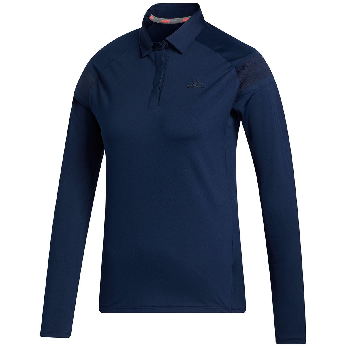 アディダス Adidas ショルダーストライプ ストレッチ長袖ボタンダウンポロシャツ J/OT カレッジネイビー レディス