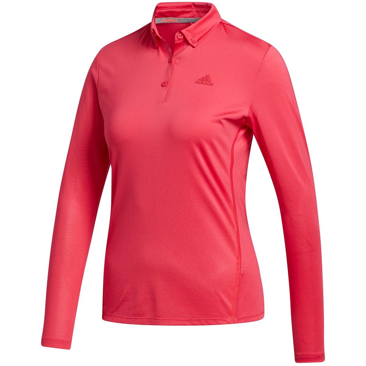 アディダス Adidas グラデーション ストレッチ長袖ボタンダウンポロシャツ J/S パワーピンク レディス