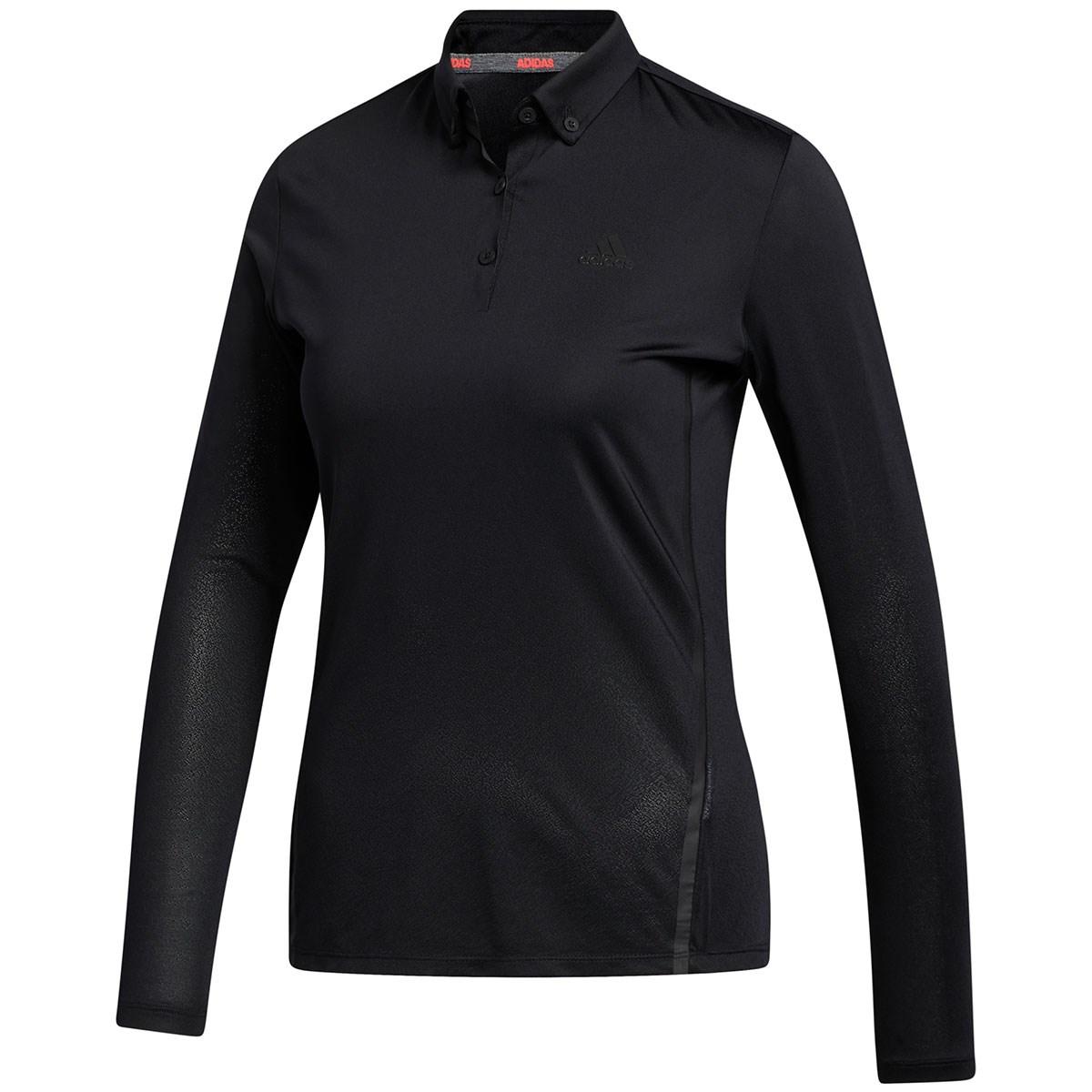 アディダス Adidas グラデーション ストレッチ長袖ボタンダウンポロシャツ J/S ブラック レディス