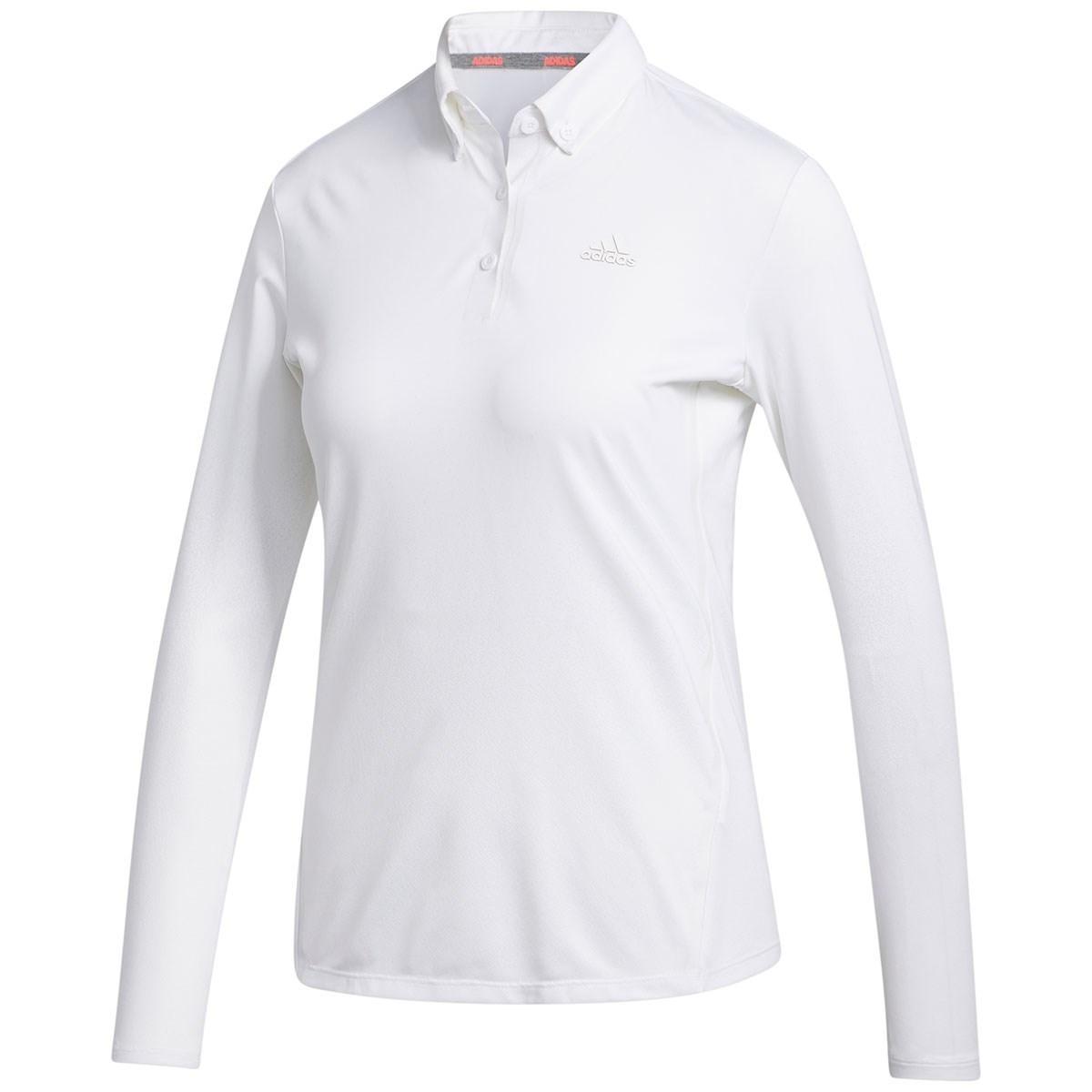 アディダス Adidas グラデーション ストレッチ長袖ボタンダウンポロシャツ J/S ホワイト レディス