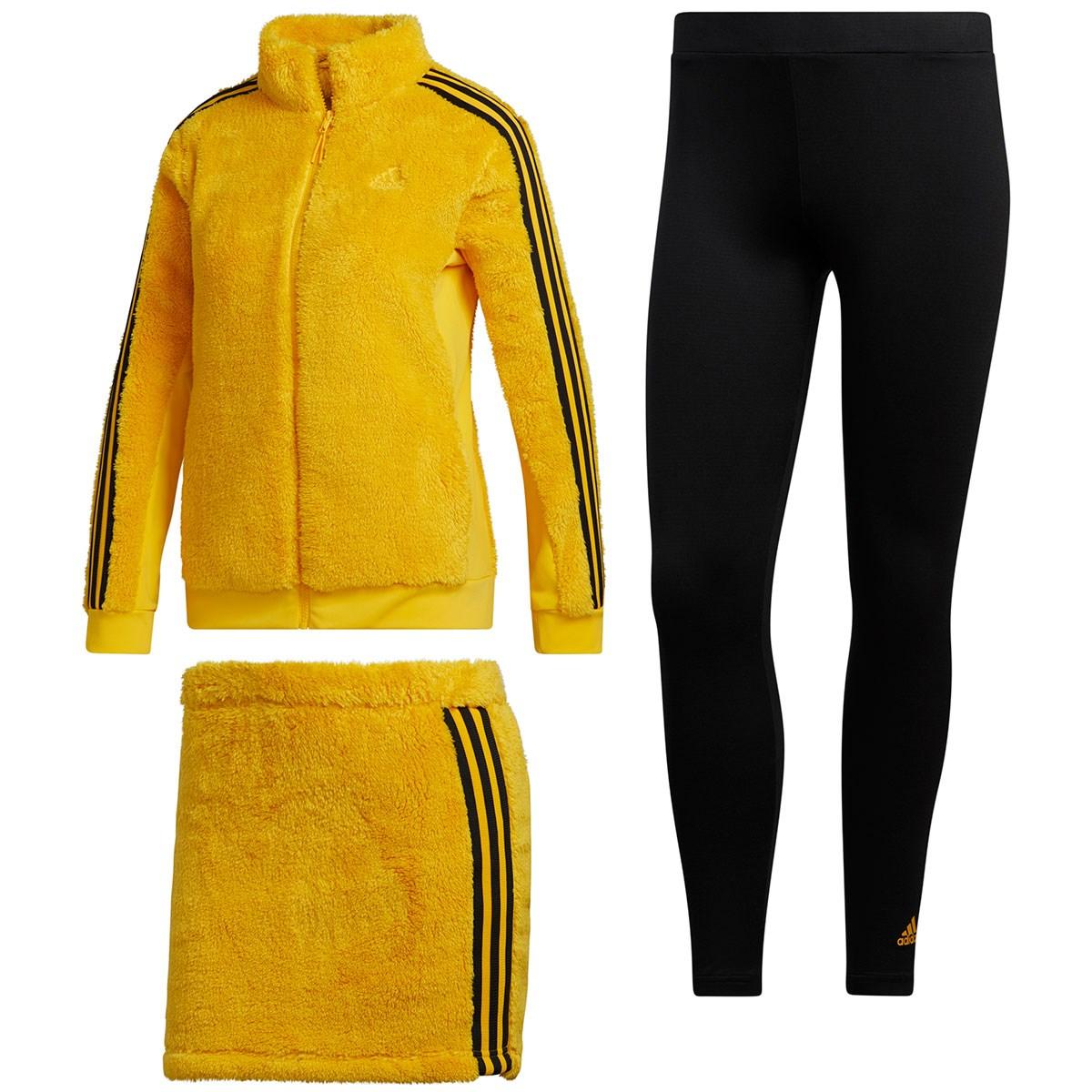 アディダス Adidas スリーストライプス レギンス付きボアフリースジャケット&スカート J/S ボールドゴールド レディス