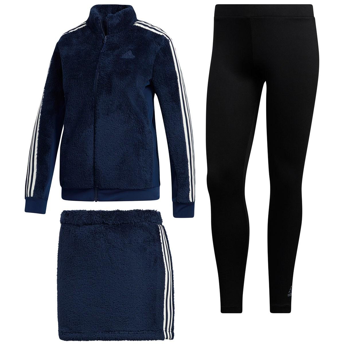 アディダス Adidas スリーストライプス レギンス付きボアフリースジャケット&スカート J/L カレッジネイビー レディス