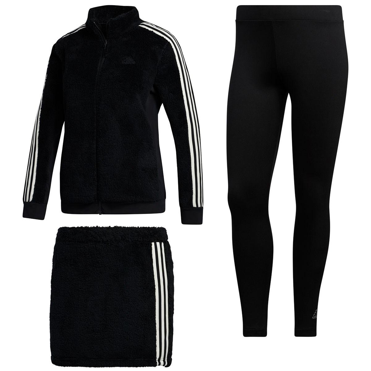 アディダス Adidas スリーストライプス レギンス付きボアフリースジャケット&スカート J/S ブラック レディス