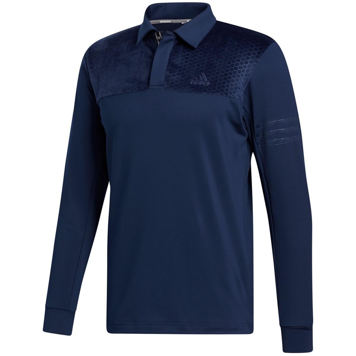 アディダス Adidas ファブリックミックス ストレッチ 長袖ポロシャツ J/O カレッジネイビー