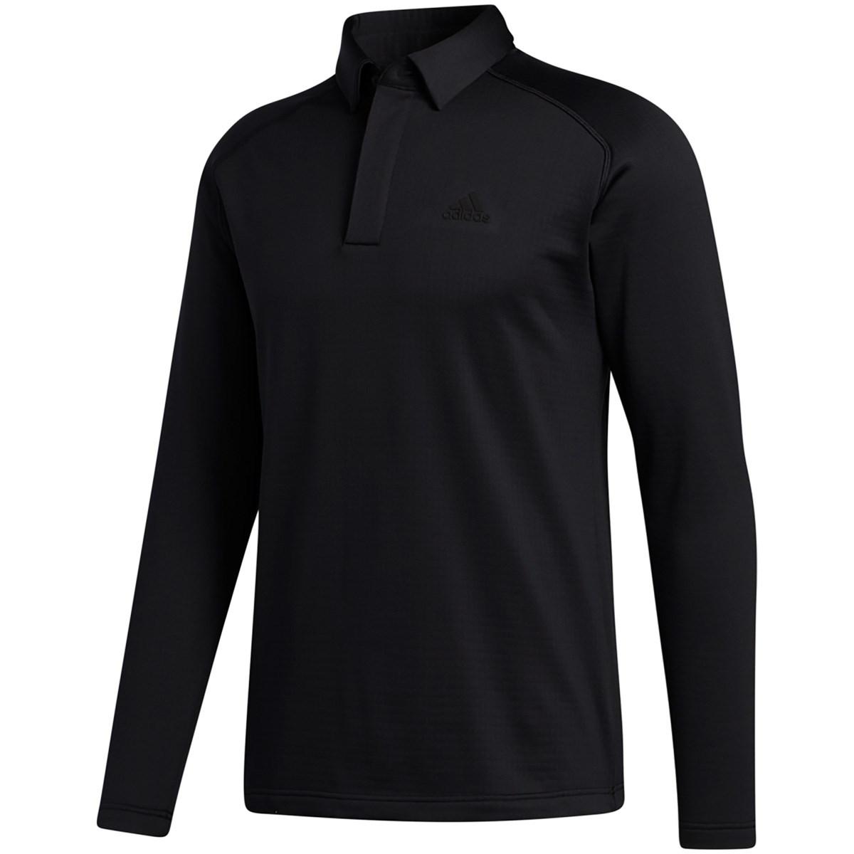 アディダス Adidas ブラッシュドワッフル ストレッチ長袖ポロシャツ J/S ブラック