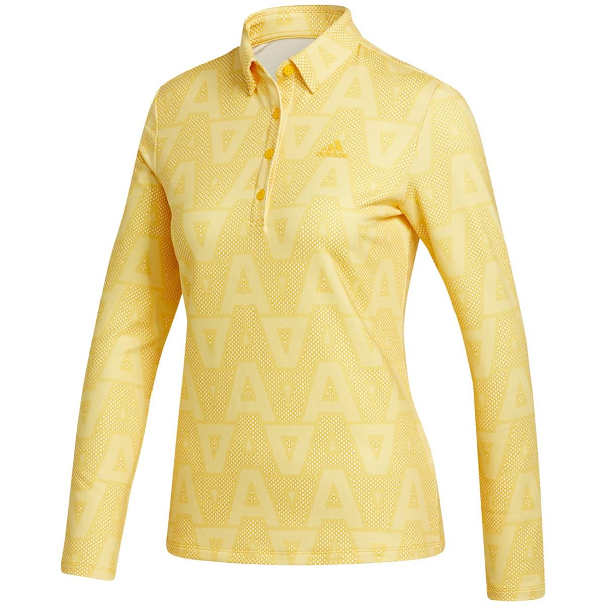 アディダス Adidas ジオメトリックパターン ストレッチ長袖ポロシャツ J/S ボールドゴールド レディス