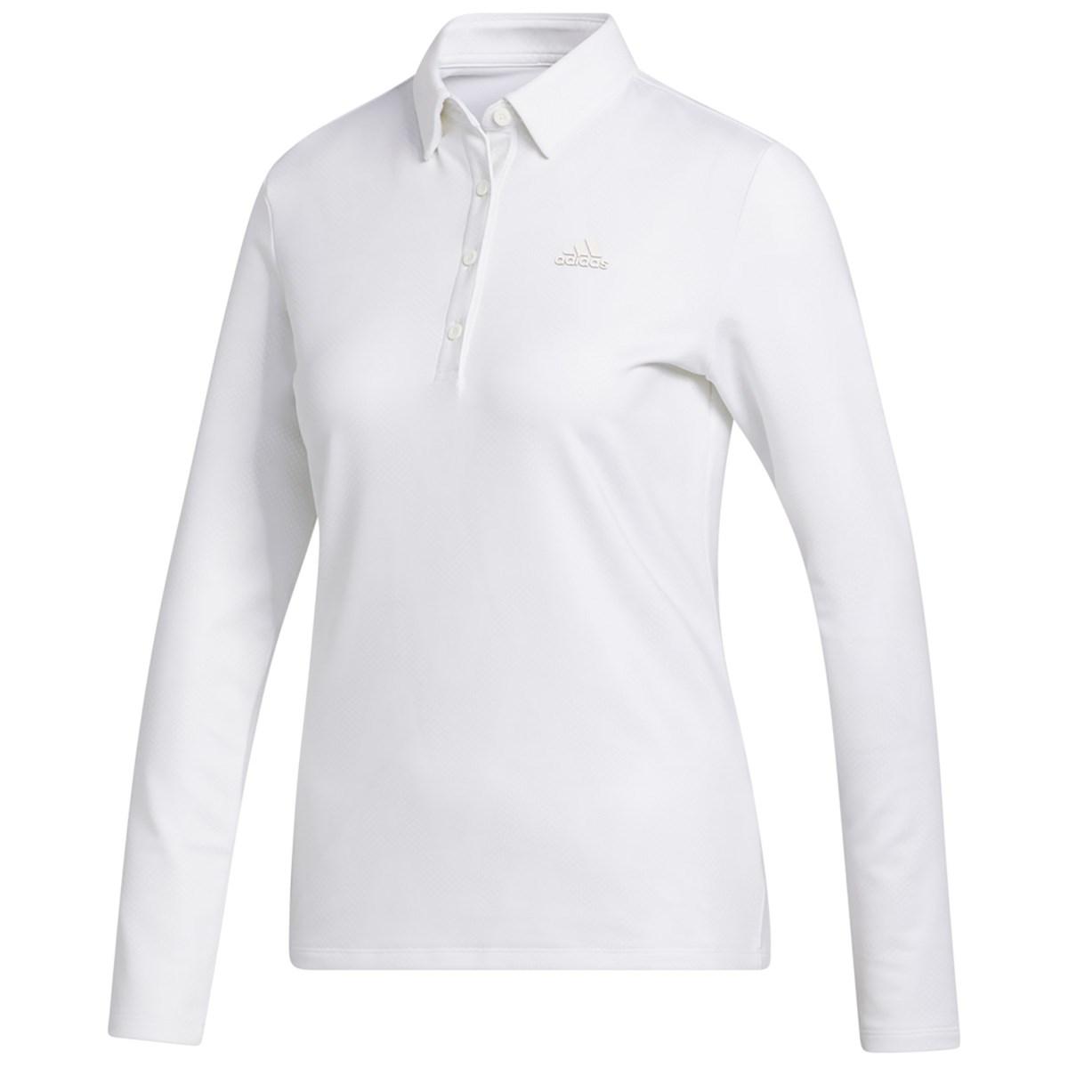 アディダス Adidas ジオメトリックパターン ストレッチ長袖ポロシャツ J/M オフホワイト レディス