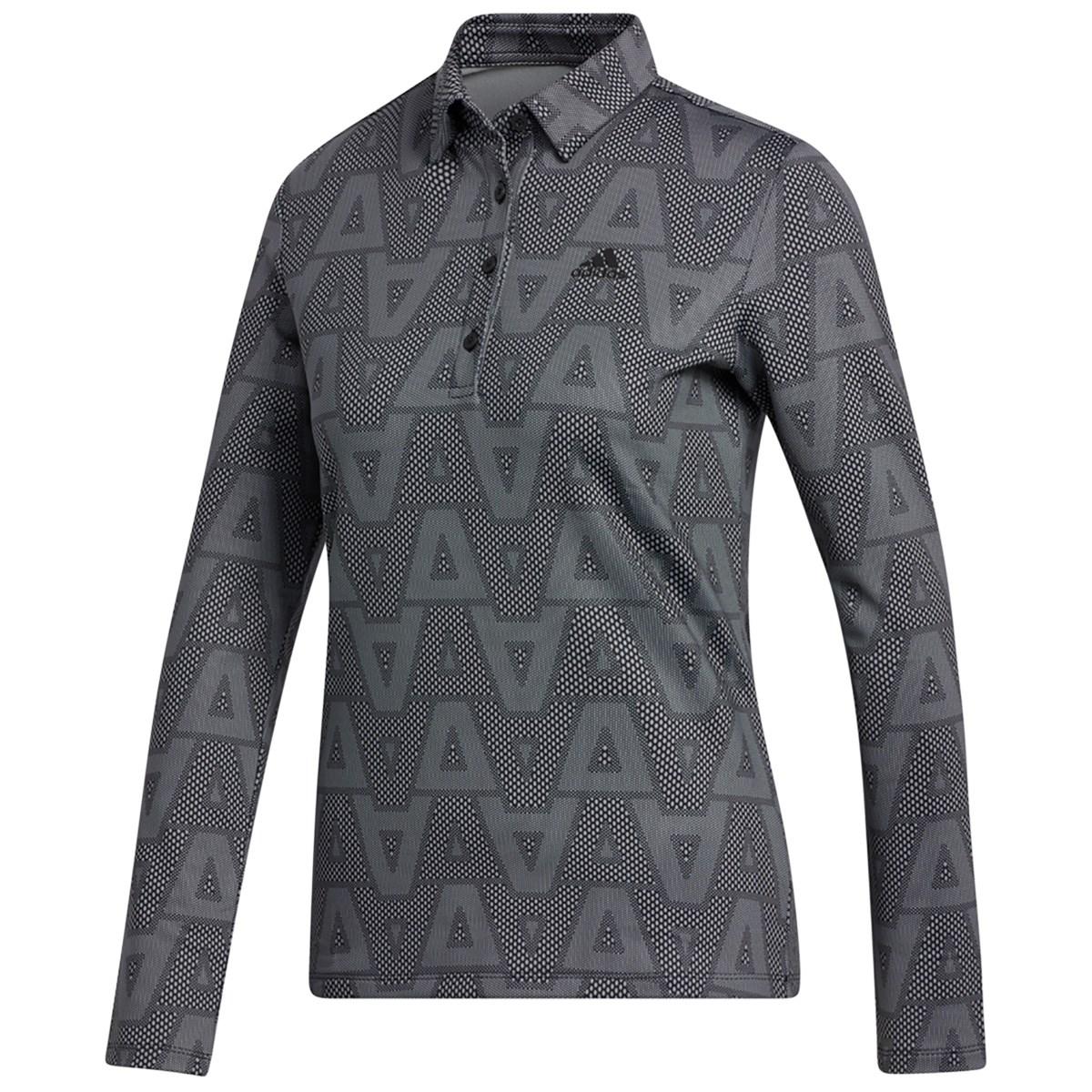 アディダス Adidas ジオメトリックパターン ストレッチ長袖ポロシャツ J/S ブラック レディス