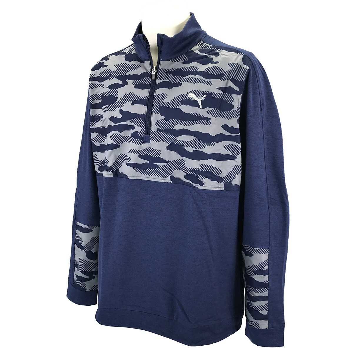 プーマ PUMA クラウドスパン カモ 1/4ジップ 長袖シャツ XS ピーコート 03