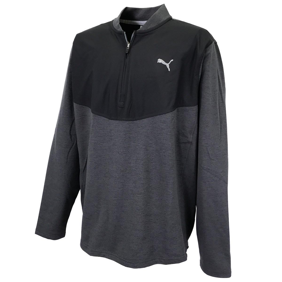 プーマ PUMA クラウドスパン 1/4ジップ 長袖シャツ S プーマブラックヘザー 01