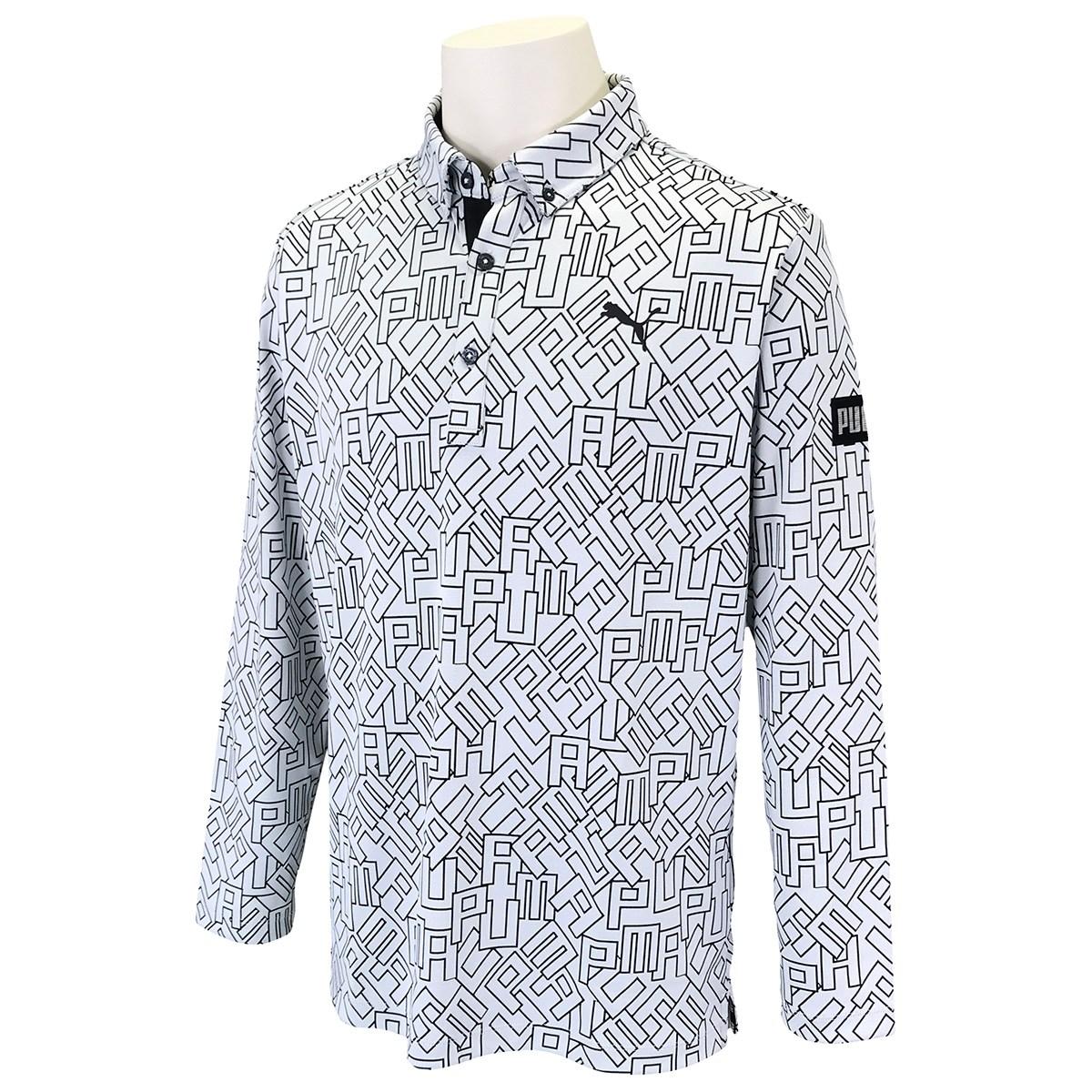 プーマ PUMA ロゴ グラフィック 長袖ポロシャツ S ブライトホワイト 03