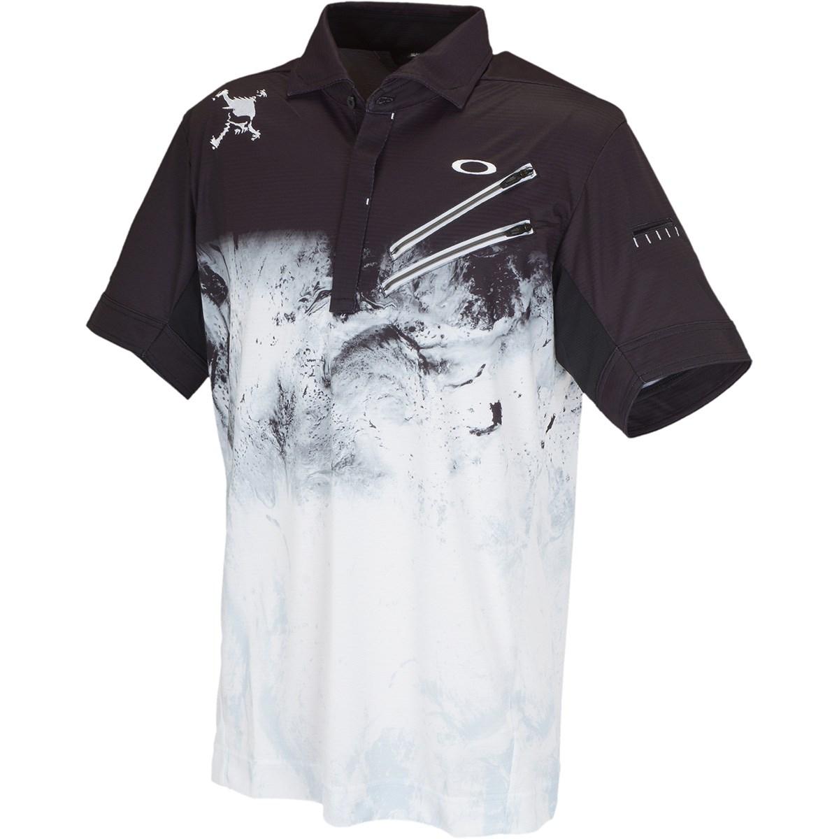 オークリー Skull スカル EXPLODE 半袖ポロシャツ US・EU/M ブラックプリント 00G
