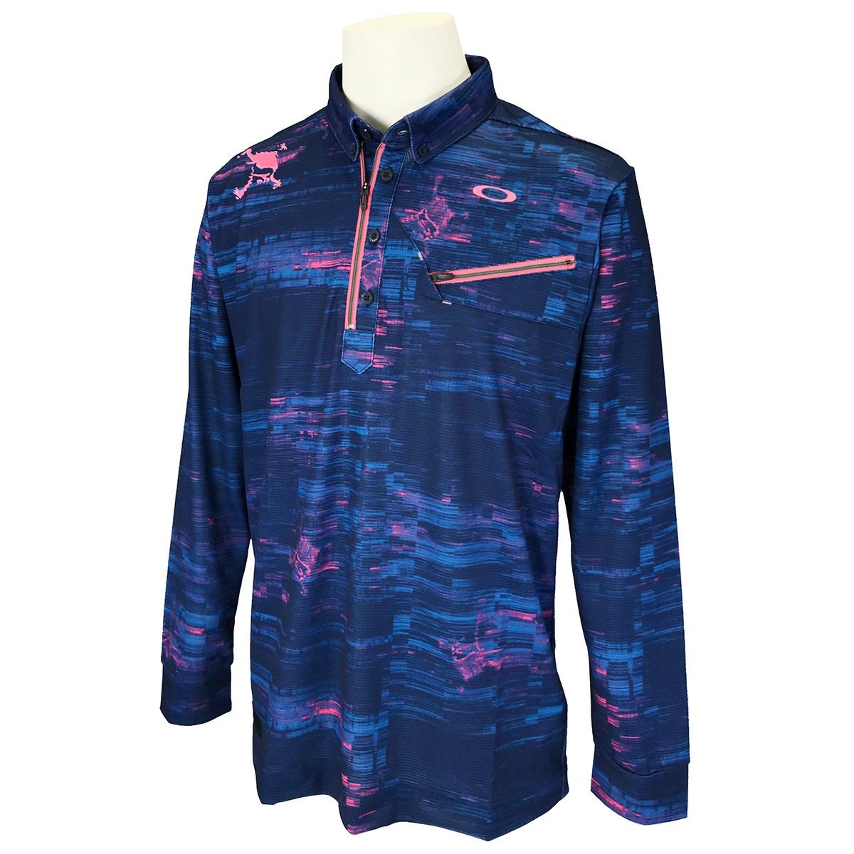 オークリー Skull スカル MUSCULAR 長袖ジップシャツ 2.0 US・EU/M ブルーストームプリント 66V