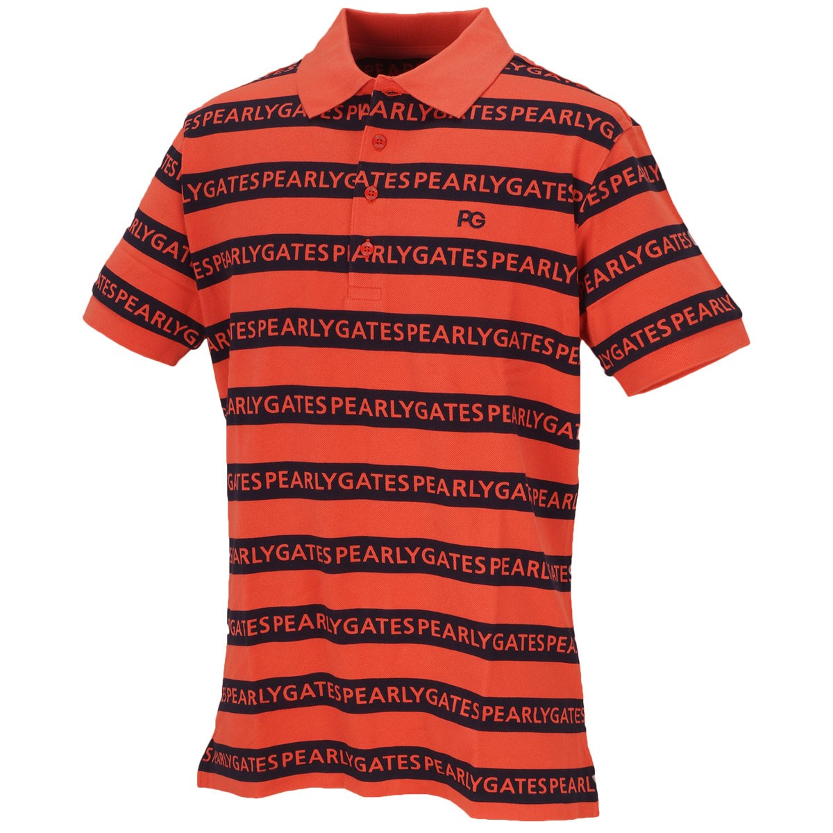 パーリーゲイツ 鹿の子 ロゴボーダー半袖ポロシャツ