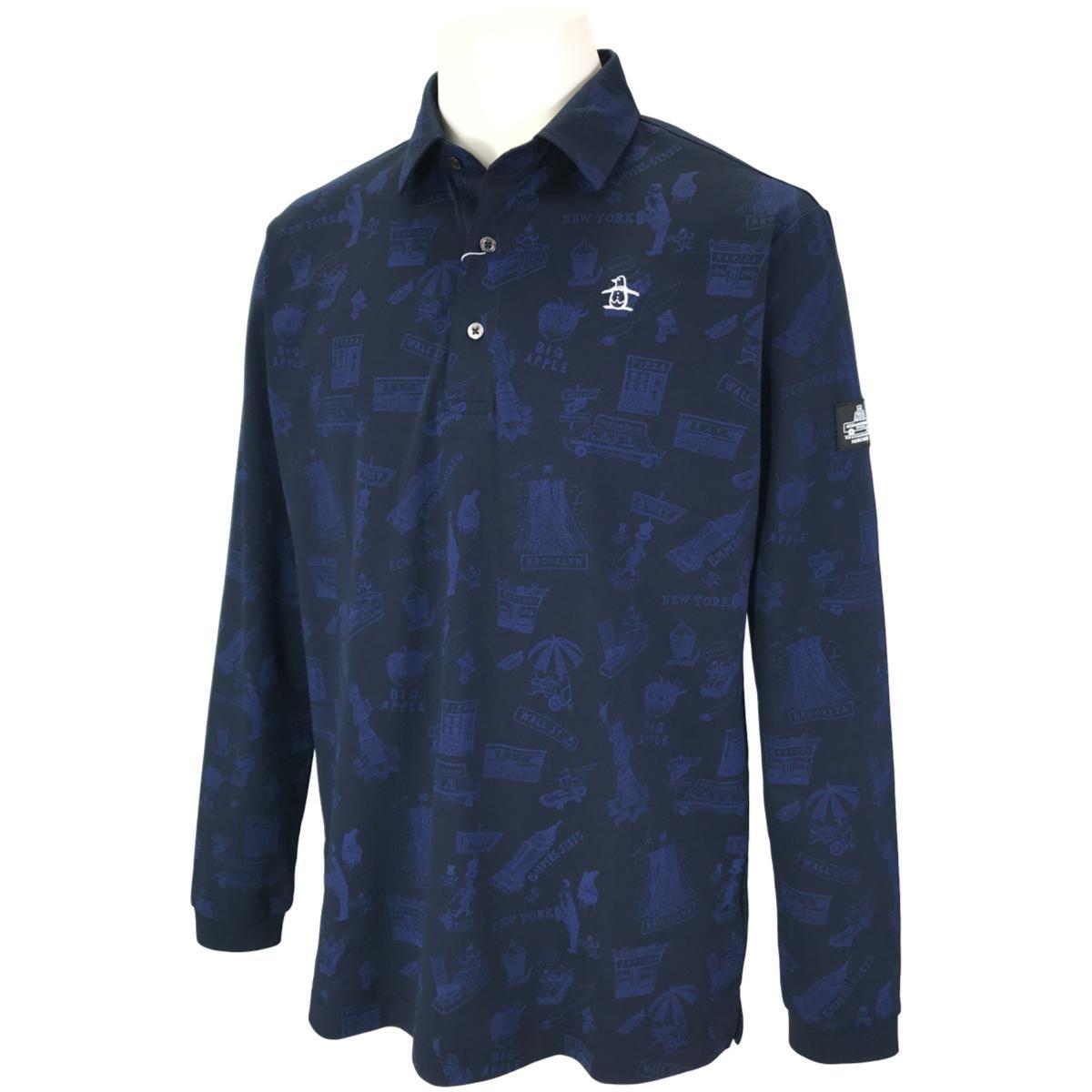 マンシングウェア モチーフプリント総柄長袖ポロシャツ