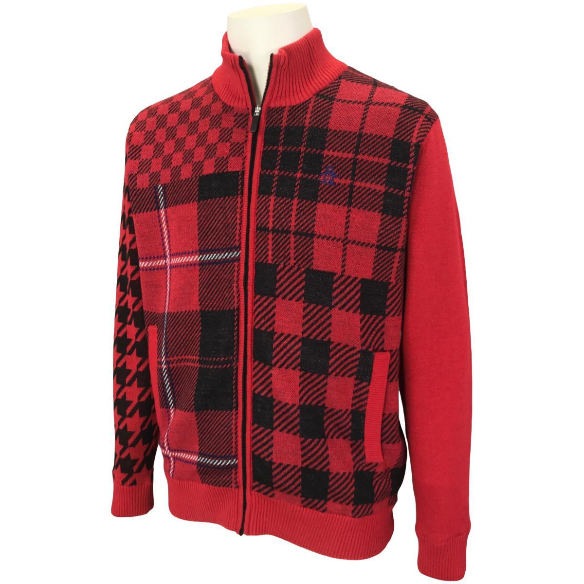 クレイジーチェック裏地付きフルジップセーター