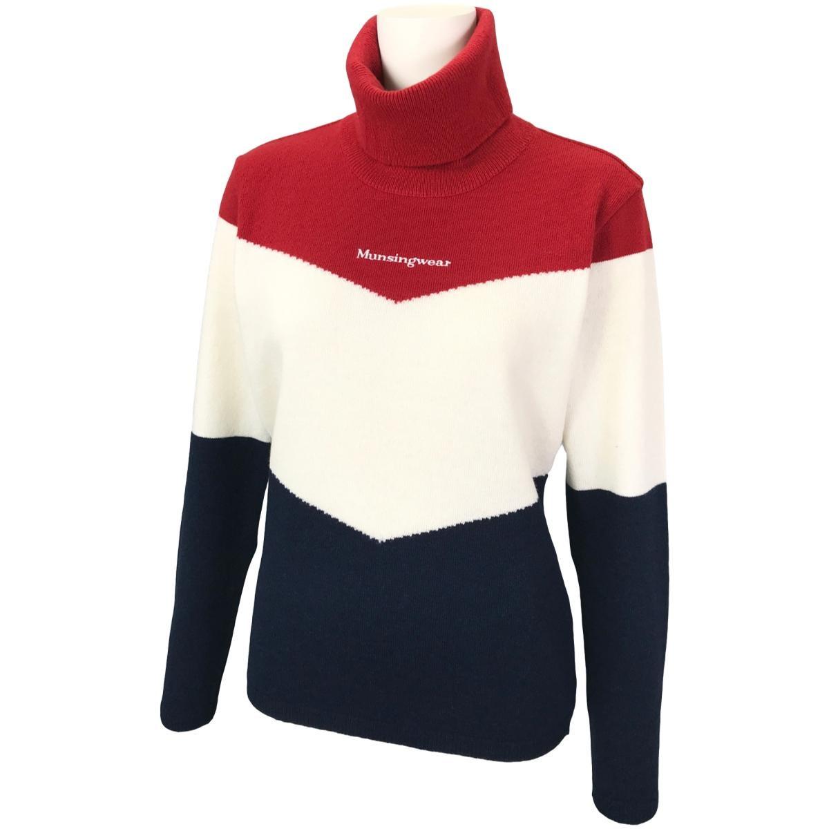 マンシングウェア Munsingwear 3色切替タートルネックセーター LL レッド/ネイビー レディス