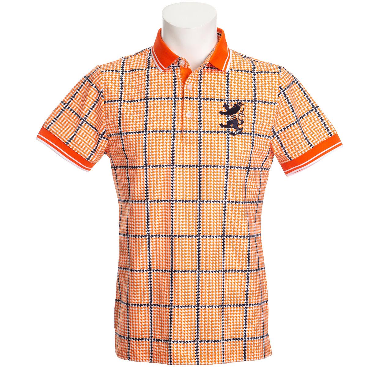 ストレッチ ガンクラブチェックプリント半袖ポロシャツ