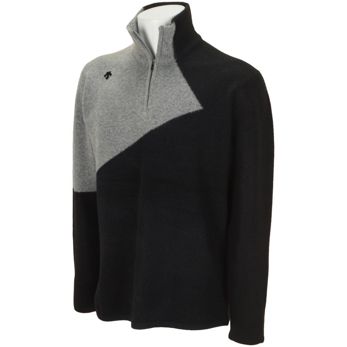 紡毛ジャカードライジング切り替えジップアップセーター