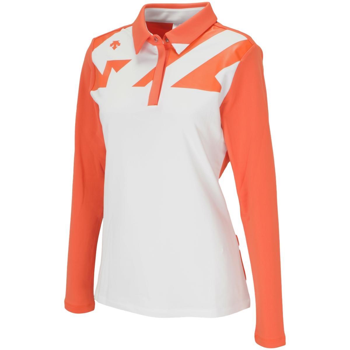 デサントゴルフ DESCENTE GOLF ストレッチ カチオンハイマルチ長袖ポロシャツ L オレンジ 00 レディス