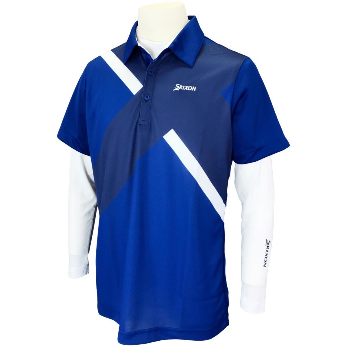 ストレッチ長袖インナーシャツ付き クロス大柄半袖ポロシャツ
